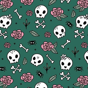 Little roses and bones skulls for girls halloween day of the dead skeleton garden pink forest green