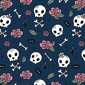 Little roses and bones skulls for girls halloween day of the dead skeleton garden pink mint navy blue night