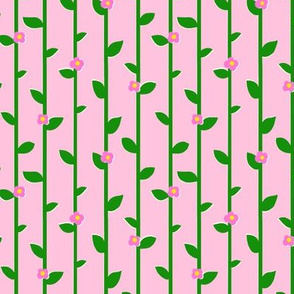 Pink Flowers and Green Trellis on pink