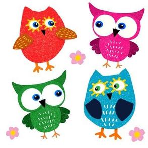 Whimsical Owls on White