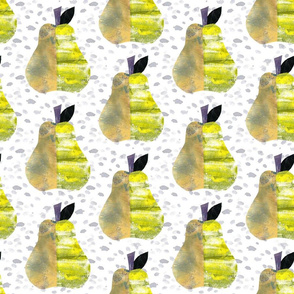 Pear Collage on Watercolor Speckles