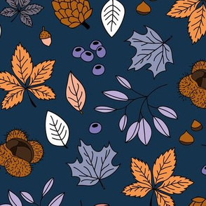 Autumn leaves botanical garden chestnut pine tree forest winter season night navy blue brown lilac