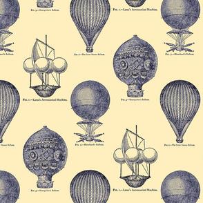 Balloon Toile Blue on Ecru