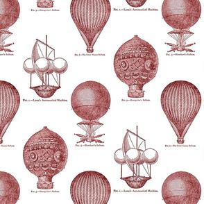 Balloon Toile Red on White