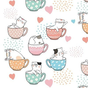 Kitty Cats In Tea Cups