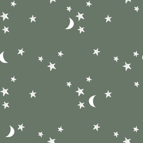 stars and moons // white on blue olive