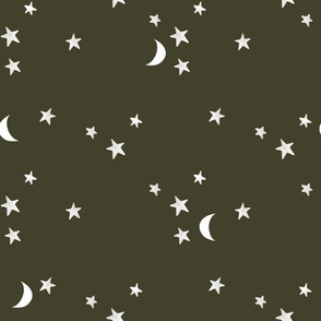 stars and moons // white on green olive