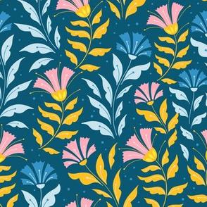 Folk florals on blue