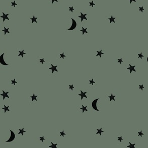 stars and moons // black on spruce