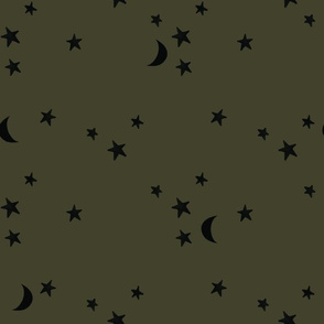 stars and moons // black on green olive