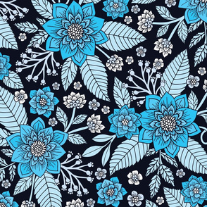 Turquoise Blue & Navy Floral Pattern
