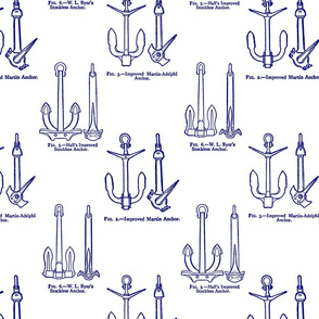 Anchor Toile Blue on White
