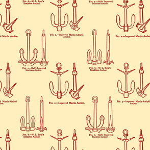 Anchor Toile Red on Ecru