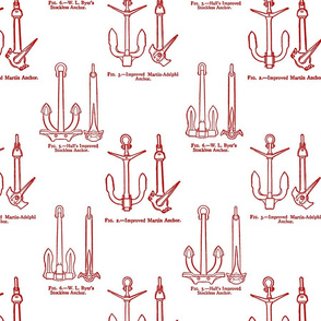 Anchor Toile Red on White