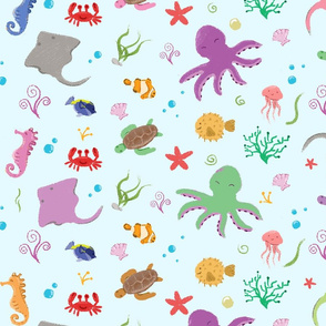 Sea Creatures_blue