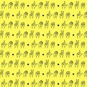 (micro print) LOVE - sign language  fabric  YELLOW C19BS