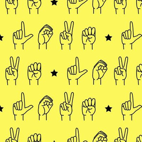 LOVE - sign language  fabric YELLOW  C19BS