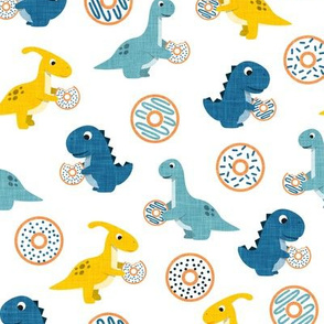 Dinos and Donuts - blue and yellow on white - doughnuts and dinosaurs - LAD19