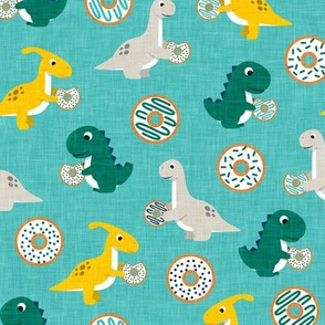 Dinos and Donuts - teal - doughnuts and dinosaurs - LAD19