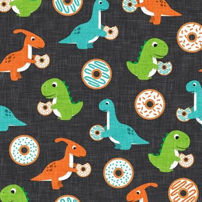 Dinos and Donuts - orange green and blue - doughnuts and dinosaurs - LAD19