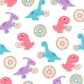 Dinos and Donuts - pink, purple, blue - doughnuts and dinosaurs - LAD19