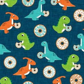 Dinos and Donuts - blue - doughnuts and dinosaurs - LAD19