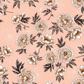 "Helen's Vintage Peonies V2 (rose) 18"""
