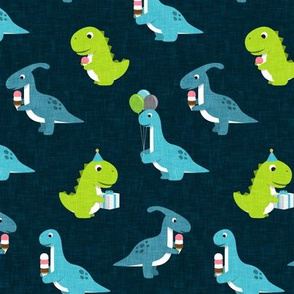 Party Dinos - blue and green on dark blue  - birthday party dinosaurs - LAD19