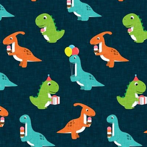 Party Dinos - orange, blue, green on dark blue  - birthday party dinosaurs - LAD19