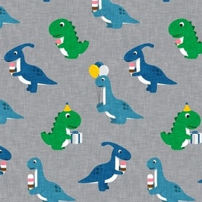Party Dinos - blue and green on grey  - birthday party dinosaurs - LAD19