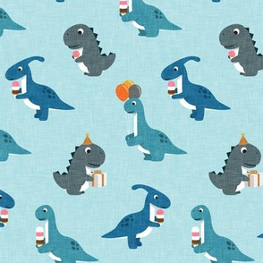 Party Dinos - blue on light blue  - birthday party dinosaurs - LAD19