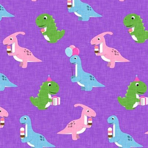 Party Dinos - purple  - birthday party dinosaurs - LAD19