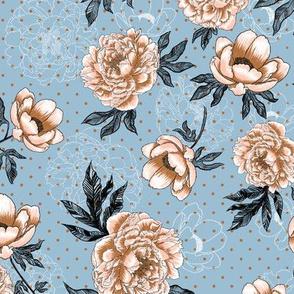 "Helen's Vintage Peonies V1 (dusty blue) 12"""