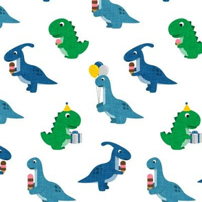 Party Dinos - blue and green on white  - birthday party dinosaurs - LAD19