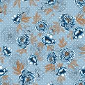 "Helen's Vintage Blue Peonies V2 (dusty blue)8"""