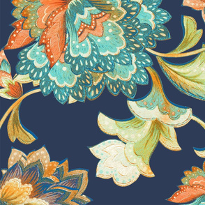 Chintz orange aqua