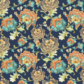 Chintz orange aqua25