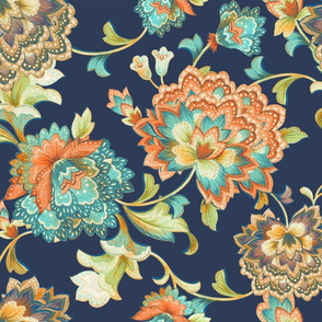Chintz orange aqua50