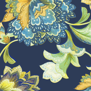Chintz yellow navy