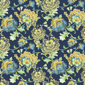 Chintz yellow navy25