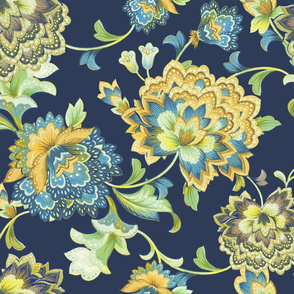 Chintz yellow navy50