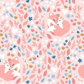 FoxLove - peach - fox and bunny