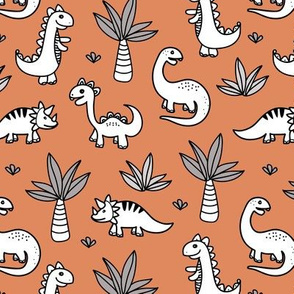 Little kawaii dino land palm trees and dinosaurs dragons kids baby nursery cinnamon gray