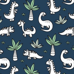 Little kawaii dino land palm trees and dinosaurs dragons kids baby boys navy blue