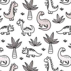 Little kawaii dino land palm trees and dinosaurs dragons kids baby neutral nursery white pastel gray