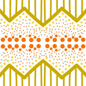 Groovy 60s Abstract - burnt orange & chartreuse