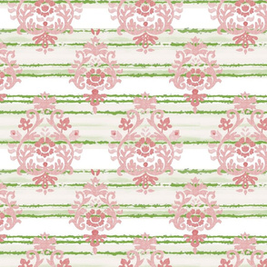 Pink and Green Damask Stripe