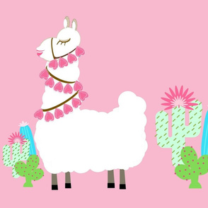 Glammy LLAMA  cactus- white on pink XL 19