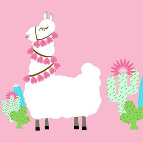 Glammy LLAMA  cactus- white on pink XL 19
