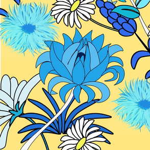 Daisies blue floral pattern